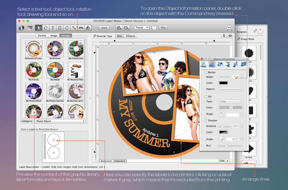 dvd cover template mac - mac cd dvd label maker disc label design software for mac